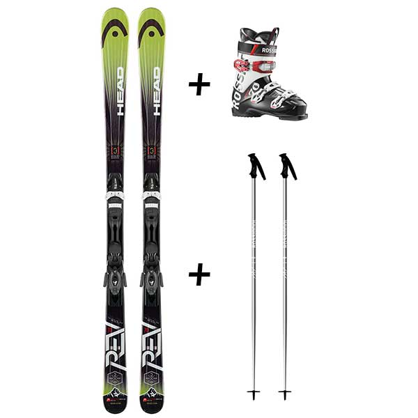 Skis et chaussures verts